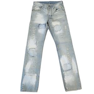 Exte Distressed Italian made blue jeans Sz 28